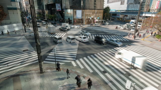 4K Time Lapse clip Crowd and car, cross-walk Ginza  traffic,Japan-Tokyo city