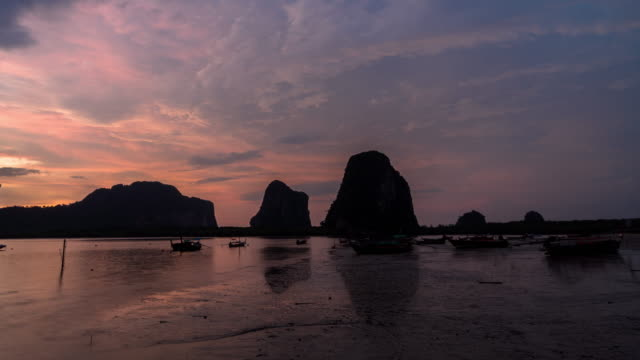 4K Time Lapse clip of Fantastic Landscape of Pak Meng beach view point at the sunset time, Nature Travel and holiday concept