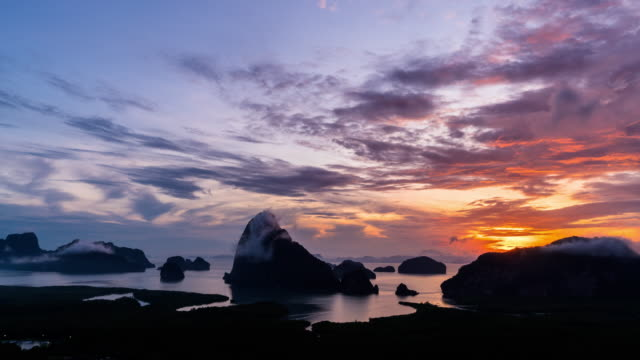 4K Time Lapse clip of Fantastic Landscape of Samed Nang Chee view point at the sunrise time, Nature Travel and holiday concept
