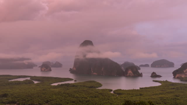 4K Time Lapse clip of Fantastic Landscape of Samed Nang Chee view point at the evening time, Nature Travel and holiday concept