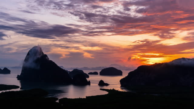 4k time lapse clip of fantastic landscape of samed nang chee view point at the sunrise time, nature travel and holiday concept - krabi province stock videos & royalty-free footage