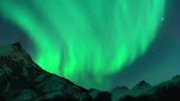 Time lapse clip of Polar Light or Northern Light (Aurora Borealis) in the night sky over the Lofoten