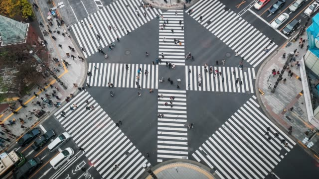 4K Zeitraffer Clip oben sehen Sie Masse und Auto, Kreuz-Spaziergang Ginza Verkehr, Japan-Tokyo city