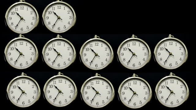 Time lapse clocks with Time going Forwards then Backwards