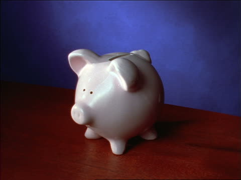 time lapse close up of hand putting coins in piggy bank - piggy bank stock videos & royalty-free footage