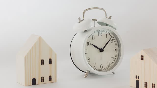 time lapse, close up white alarm clock. - single object stock videos & royalty-free footage