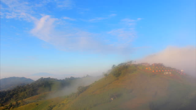 time lapse cloud and mist and mountain landscape , monjam mountain , chiang mai ,thailand - chiang mai city stock videos and b-roll footage