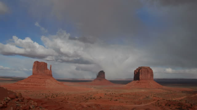 Time lapse clouds cross Monument Valley National Monument in Utah.