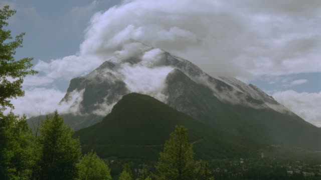 time lapse clouds in blue sky swirling around Mt Rundle / Jasper National Park, Canada