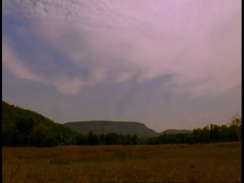wa time lapse clouds over grassland and mountain, bandhavgarh national park, india - bandhavgarh national park stock videos and b-roll footage