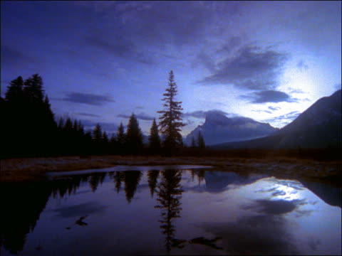 time lapse clouds over lake near silhouette of trees / canadian rockies, banff national park - pinacee video stock e b–roll