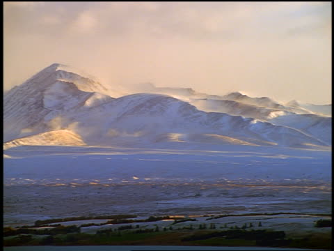time lapse clouds over snow-capped Burnett Mountains near Lake Pukaki / South Island / New Zealand