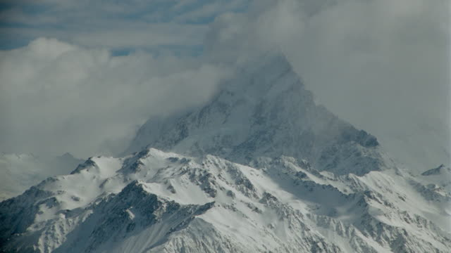 time lapse clouds passing around snow -covered Mt. Cook / South Island / New Zealand