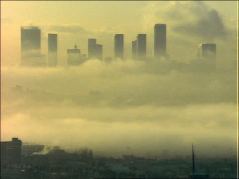 time lapse clouds past Los Angeles skyline