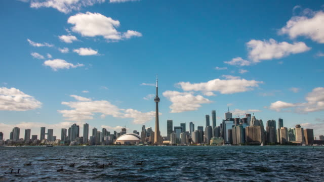 ws time lapse clouds rolling over cn tower and city skyline,toronto,canada - toronto stock videos & royalty-free footage