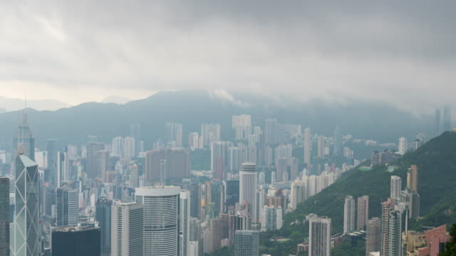 zeitraffer bewölkten gebäudeinfrastruktur in hong kong - modernes geschäftsgebäude außenviertelstadt - insel hong kong island stock-videos und b-roll-filmmaterial