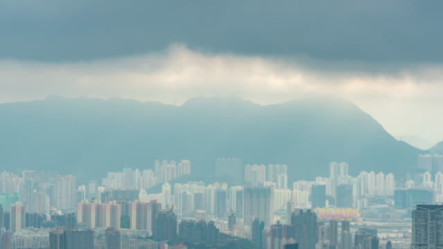 time lapse : cloudy hong kong city - victoria peak stock videos & royalty-free footage