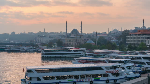 time lapse : cloudy morning yeni cami mosque background   istanbul city ,turkey - yeni cami mosque stock videos & royalty-free footage