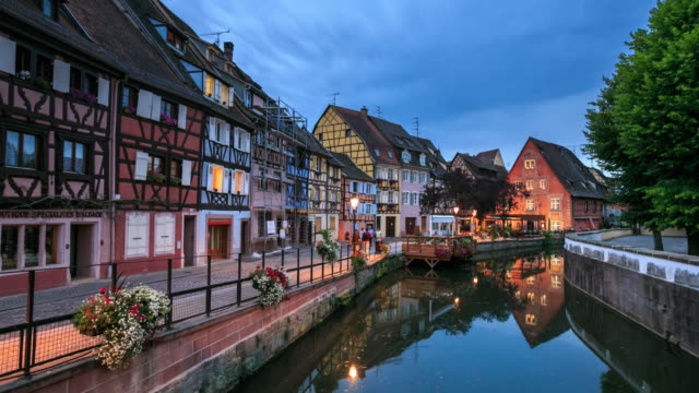 4k time lapse : colmar in france - embankment stock videos & royalty-free footage
