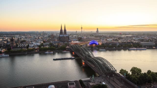 4k time lapse : cologne - river rhine stock videos & royalty-free footage