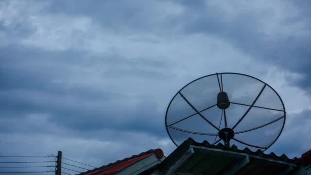Time lapse : Communication satellite dish antenna on house roof