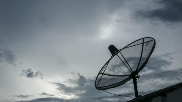 tidsfördröjning: kommunikation satellit parabolantenn - radio och tv utsändning bildbanksvideor och videomaterial från bakom kulisserna