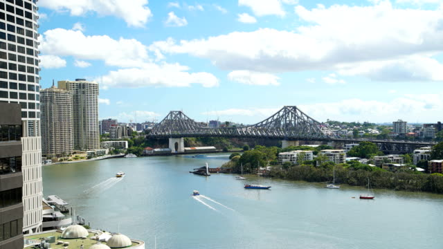 time lapse commuter traffic on brisbane river queensland - queensland stock videos & royalty-free footage