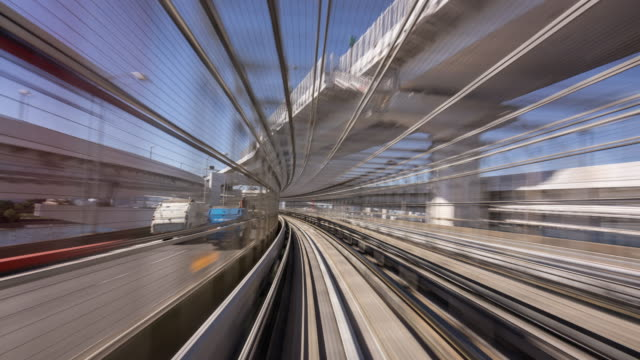 time lapse - commuter train speeding through tokyo - train point of view stock videos & royalty-free footage