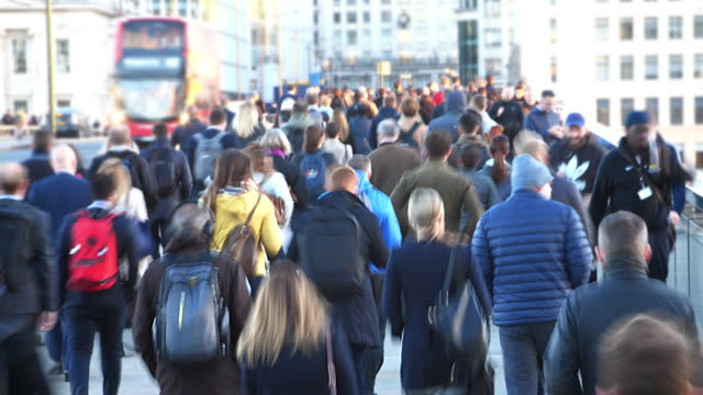 time lapse commuters walking to work, blur. high angle view. - on the move stock videos & royalty-free footage