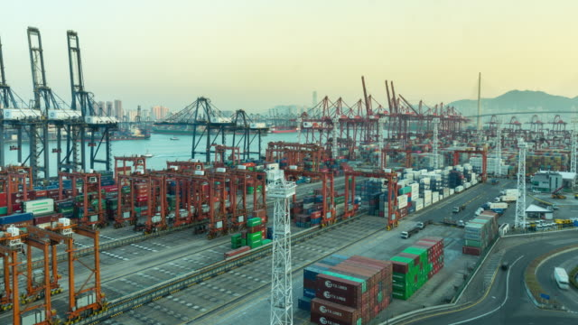 4k time lapse : container cargo warehouse at terminal commercial port for business logistics, import export, shipping or transportation. - freight elevator stock videos & royalty-free footage