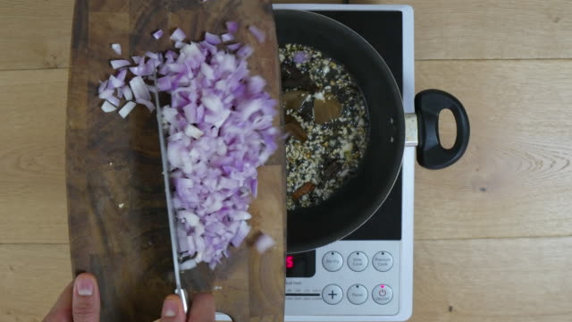Time Lapse, cook adds finely onions to a base of chopped ginger, garlic and various Indian spices, masalas, herbs, etc to create an authentic Indian curry base