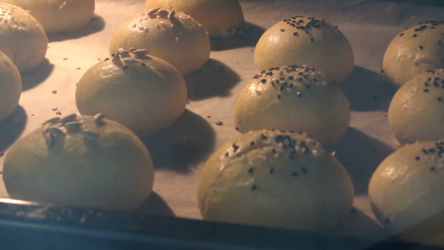 time lapse - cooking homemade buns in the oven - baking stock videos & royalty-free footage