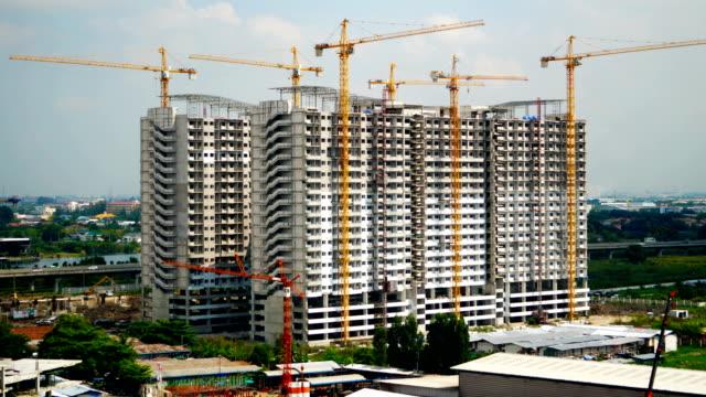 Time lapse crane and building construction crane