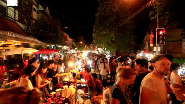 Time Lapse: Crowd at market walking street in Chiang Mai