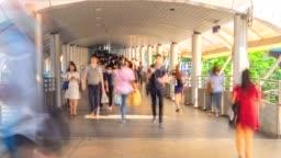 4K, Time lapse Crowd in Business District Walking way in Bangkok