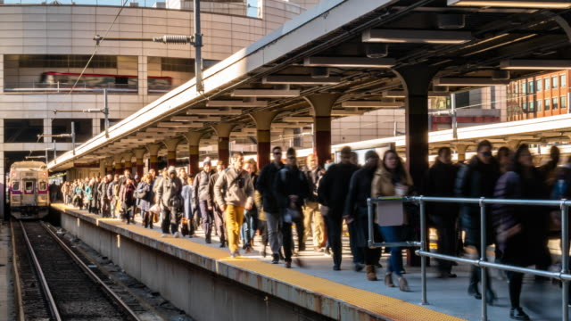 time lapse crowd of passenger and tourist walking in railroad station platform - boston massachusetts stock videos & royalty-free footage