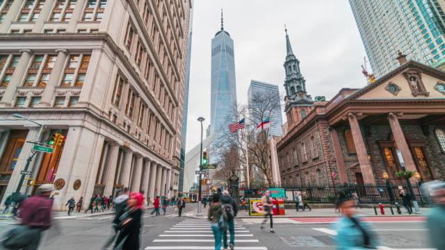 time lapse crowd of pedestrian walking in new york city, usa - international landmark stock videos & royalty-free footage