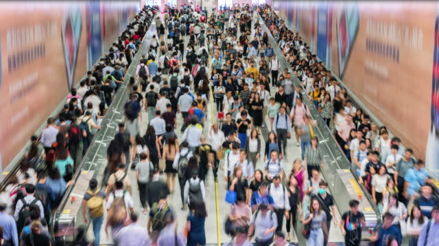time lapse crowd of pedestrian walking in subway - central district hong kong stock videos & royalty-free footage