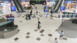 Time Lapse: Crowd of tourism people in departure area of Hong Kong air port
