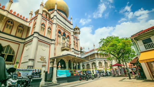4k time lapse :crowd pedestrian at musjid sultan arab street - sultan stock videos and b-roll footage