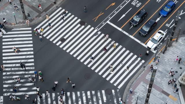 東京・銀座の歩行者や交通の時間経過。 - 流れる点の映像素材/bロール