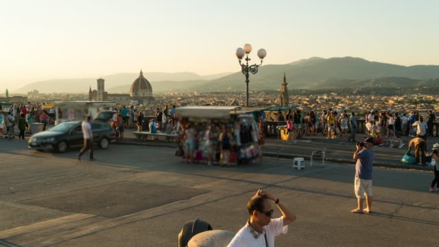time lapse, crowd walking at piazzale michelangelo, florence - 14th century bc stock videos & royalty-free footage
