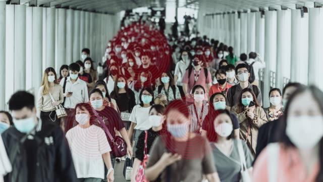 時間経過 コロナウイルスまたはcovid-19の流行をテクノロジー通信ネットワークで防ぐためにフェイスマスクを着用した人々の混雑 - 歩行者点の映像素材/bロール