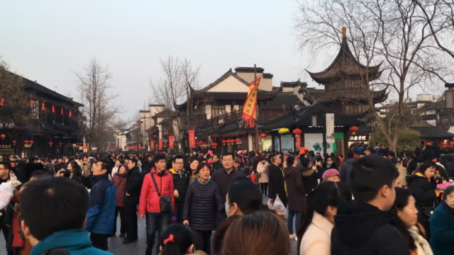 time lapse: crowded people walking at nanjing confucius temple in spring festival - nanjing stock videos & royalty-free footage