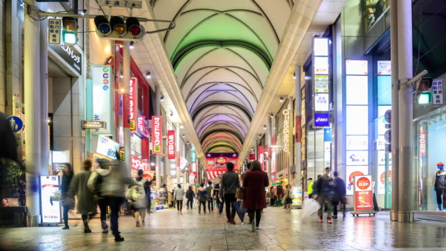 4k time lapse : crowded shopping at hondori - hiroshima prefecture stock videos and b-roll footage