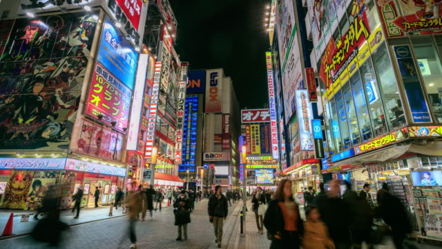 4k time lapse : crowds in akihabara. - akihabara stock videos and b-roll footage