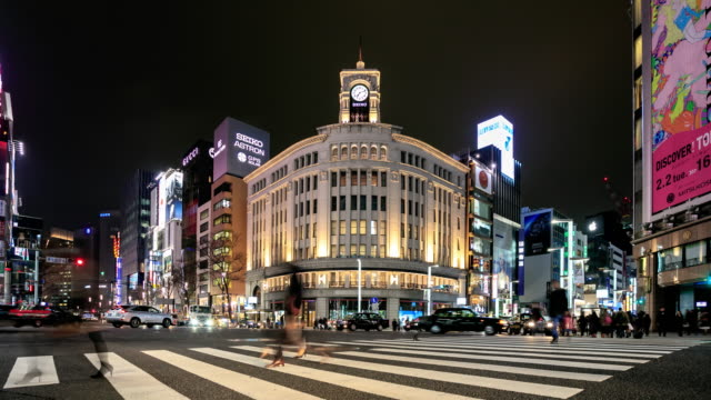 4k time lapse : crowds in ginza - ginza stock videos & royalty-free footage