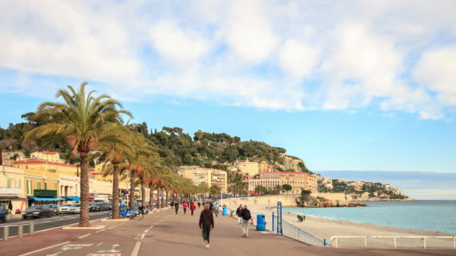 4K Time Lapse : Crowds on the beach of nice