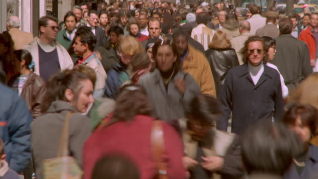time lapse crowds walking on new york city sidewalk - chaos stock videos & royalty-free footage