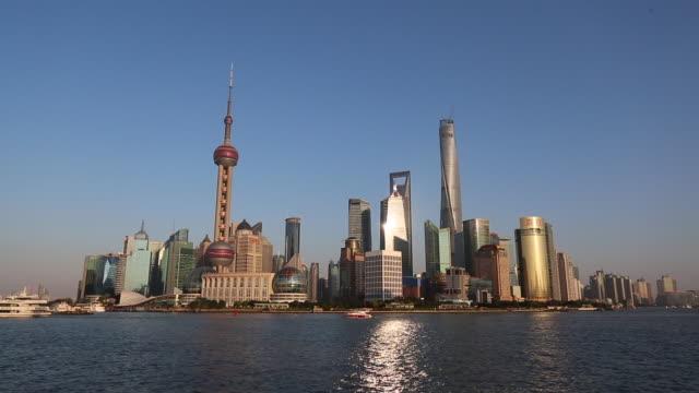 time lapse: cruise sailing on Huangpu river at sunset